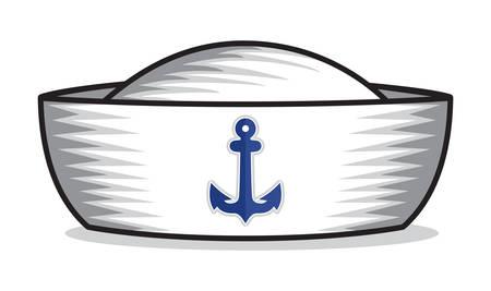 sailor: sombrero de paja Vectores