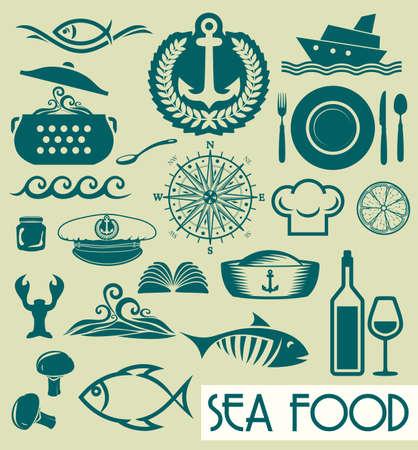 shrimp boat: Sea food concept Illustration