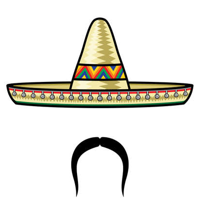 mexican sombrero: Sombrero e baffi Vettoriali