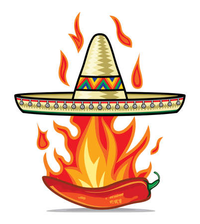 Sombrero chili pepper poster Vector