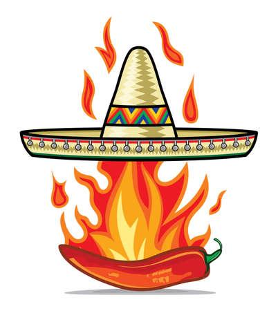 latin american: Sombrero chili pepper poster