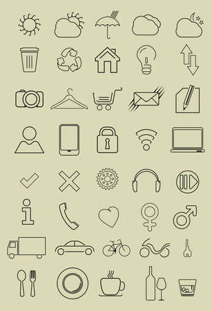 thin bulb: Set of thin icons