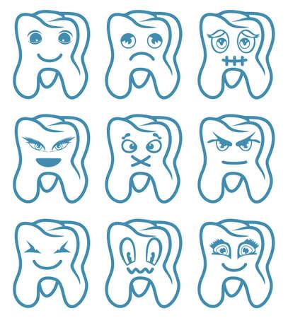 dientes sucios: Colección Dientes Vectores
