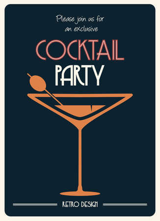 cocktails: cocktail retro poster