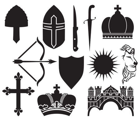 medieval icon set Vector