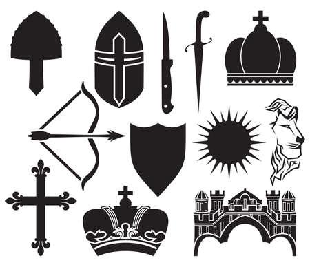 medieval king: medieval icon set Illustration