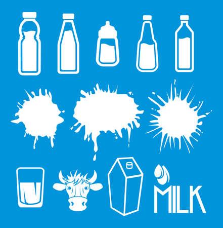 milk drop: Milk set of labels and icons Illustration