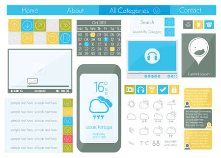 UI flat design web icon set Vector