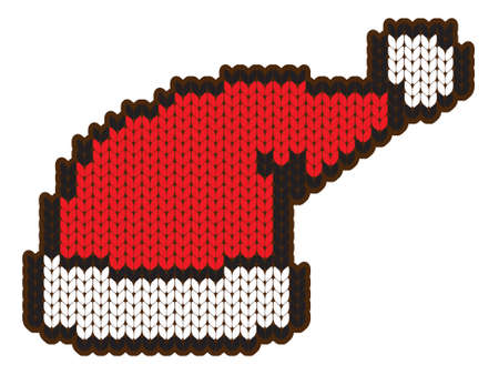 knitting wool santa hat Vector
