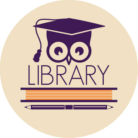 owl symbol: library icon Illustration