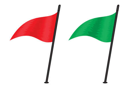 three cornered: red and green triangular flag