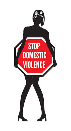 Stop domestic violence or abuse sign Illustration