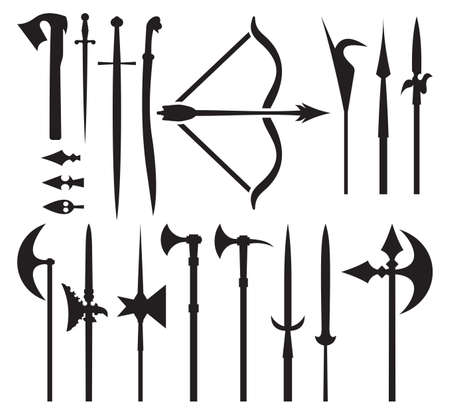 medieval weapon icons Vector