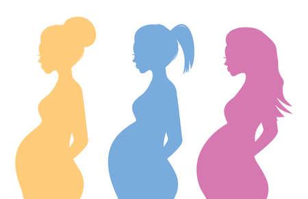 Siluetas de la mujer embarazada Foto de archivo - 26333327