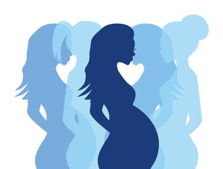 妊娠中の女性のシルエット  イラスト・ベクター素材