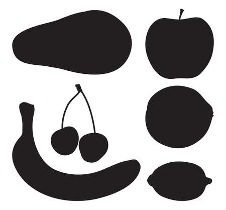 Set black silhouette various fruits on a white background - vector Vector
