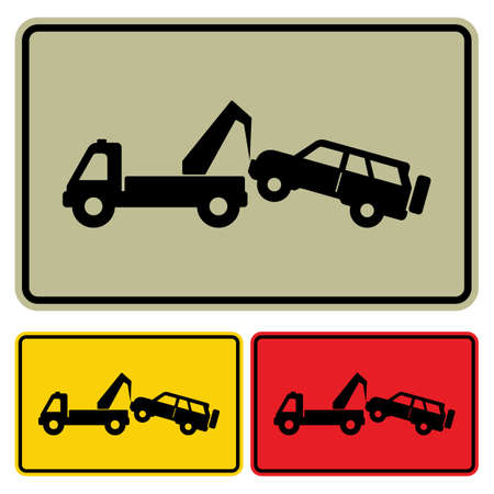 tow truck: Traffic sign - no parking, tow away zone sign