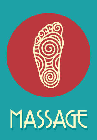 Foot massage retro poster Vector