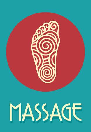 massage symbol: Foot massage retro poster