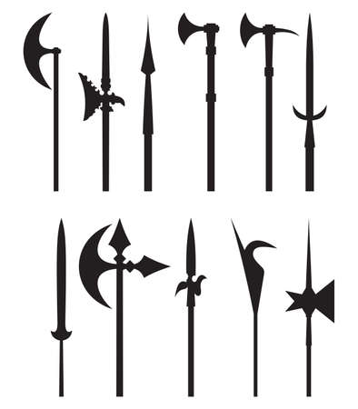 ax: medieval weapon icons Illustration