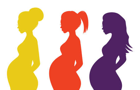 pregnancy belly: Pregnant woman silhouette