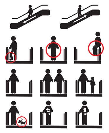 be aware: Escalator icons Illustration