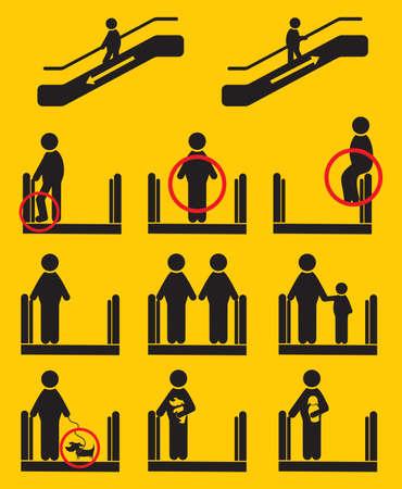 be careful: Escalator icons Illustration
