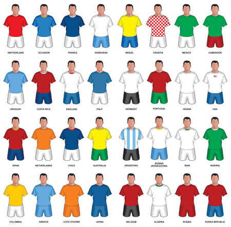 Set of abstract nationals football uniform Vector