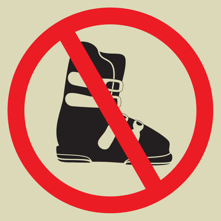 No ski boot sign Vector