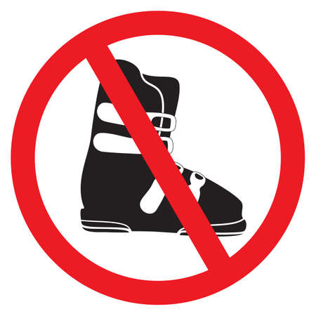 prohibition signs: No ski boot sign Illustration