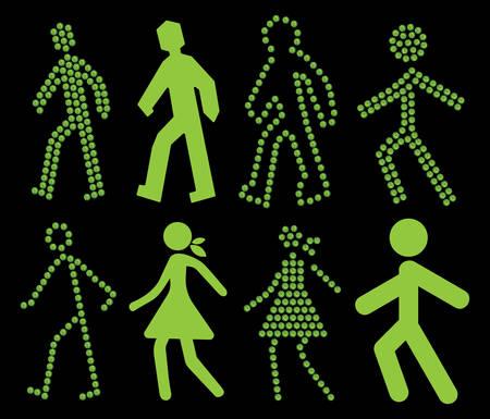 pace: Green walking traffic light set