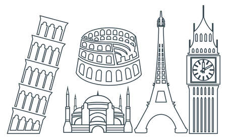 tower of pisa: World famous buildings icons Illustration