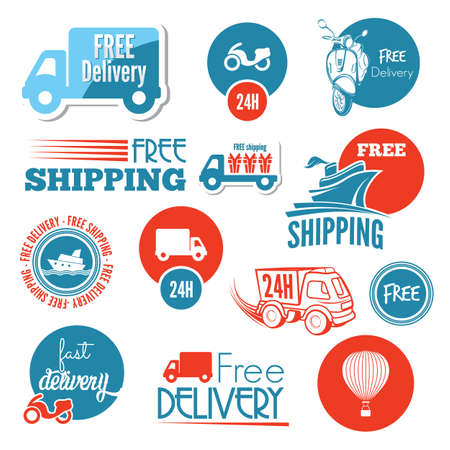 Shipping icons and labels Vector