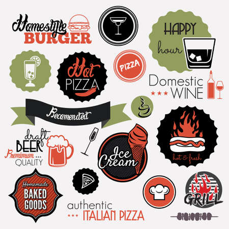 Food set labels Vector