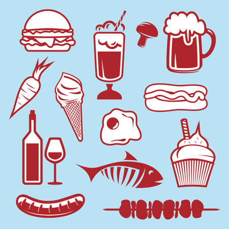 barbecue stove: Food set icons Illustration