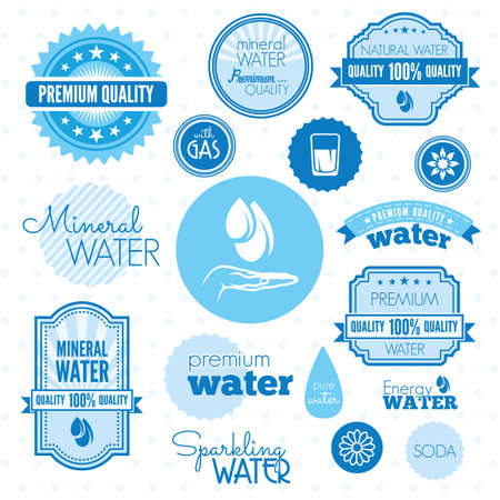 Water icons and labels Vector