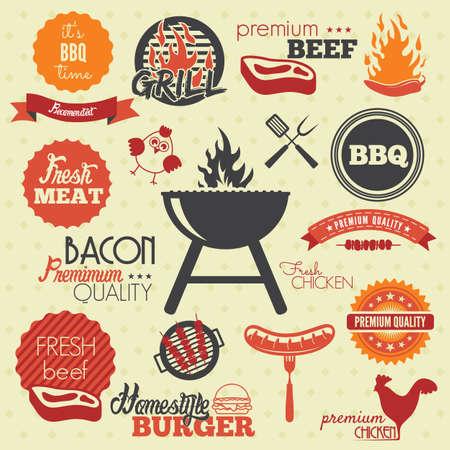 carne a la brasa: Etiquetas Grill barbacoa Vintage