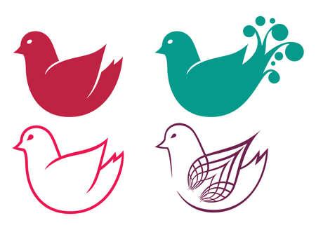 Set of cartoon doodle birds icons Vector