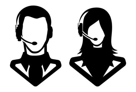 phone operator: Man and woman call center icon Illustration