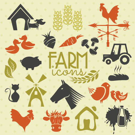Farm icons and labels Vector