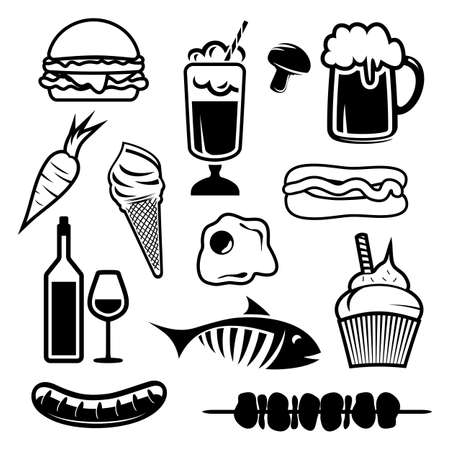 charcoal grill: Food set icons Illustration