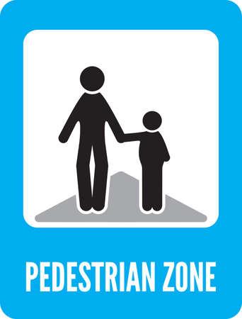 pedestrian crossing: Pedestrian zone Symbol Illustration