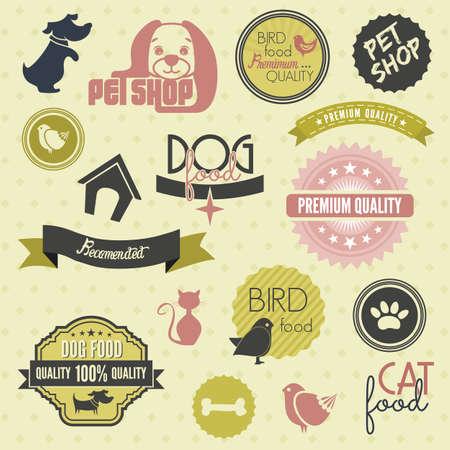 Pet label set Vector