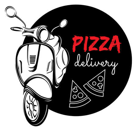fast delivery: Pizza delivery label Illustration