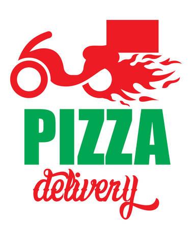 cartoon menu: Pizza delivery label Illustration