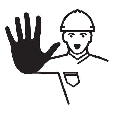 casco rojo: Acceso denegado - trabajador de la construcción Vectores