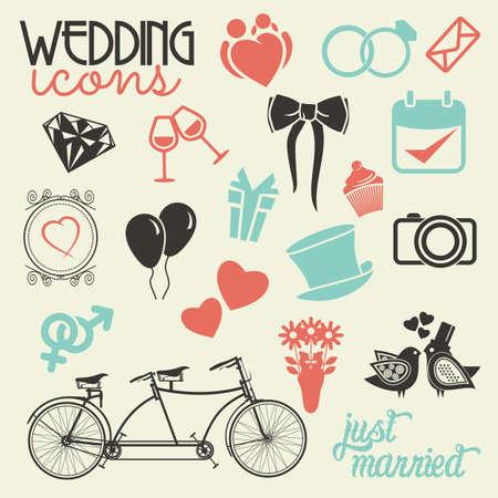 church family: Wedding icon set