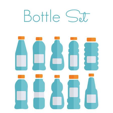 soda bottle: Plastic bottle set - flat icons