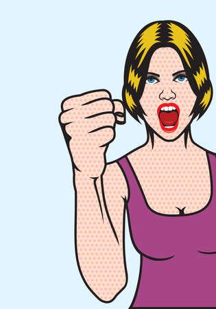Women rights pop art poster Vector