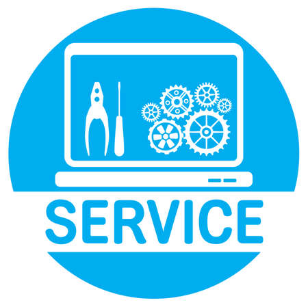 repair computer: Computer service icon Illustration